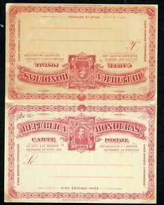 HONDURAS UPU 1891 HG 12 MINT 3+3C DOUBLE CARD CARMINE ON GREENIS YELLOW AS SHOWN