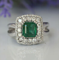 Gorgeous 14K White Gold 2.61ct. Natural Green Emerald And Diamonds Luxury Ring
