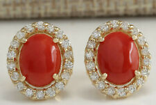 3.10 Carat Natural Coral 14K Yellow Gold Diamond Earrings