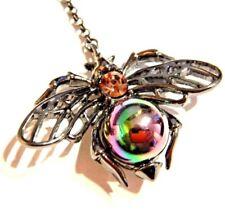 GUNMETAL BLACK FLYING INSECT EARRINGS rainbow orb bee fly scarab beetle Egypt H2