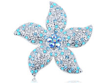 New Diamante Crystal Faux Turquoise Bead Stargazer Lily Flower Style Pin Brooch