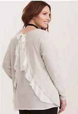 NWT! Torrid Sweater Grey & White Chiffon Ruffled Back size 00
