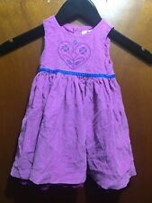 PUMPKIN PATCH PURPLE FINE CORD GIRLS DRESS  SZ 6-12 MTHS  FREE POST (F26)