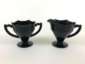 ART DECO black glass creamer & sugar bowl 1930s