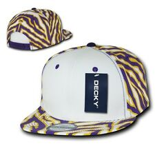 Purple Gold White Zebra Animal Print Vintage Snapback Classic Flat Bill Hat Cap