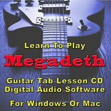 MEGADETH Guitar Tab Lesson CD Software - 175 Songs