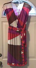 Donna Morgan Sleeveless Wrap Dress Womens Sz 2 Cream Brown Purple Red Geometric