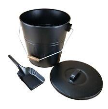 Scratch n Dent Black Fireplace Ash Bucket with Scoop n Lid storage carrier