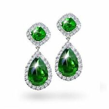 Emerald Silver Plated Drop/Dangle Costume Earrings