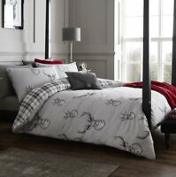 Catherine Lansfield Stags and Tartan Check Silver Reversible Double Duvet Sets