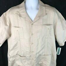 43b5eed7 Guayabera XXL Mexican Wedding Shirt 2xl Mens Tan Cubavera Ramie Rayon