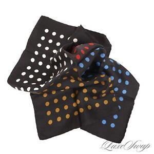 Anonymous Vintage Black HandRolled Foulard Twill 4 Panel Polka Dot Pocket Square