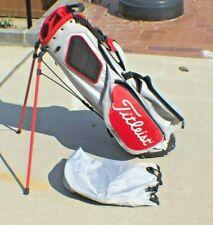 Titleist 4-Way Lite Gray Scarlet / Red Stand Golf Bag w/ Rain Cover - Excellent