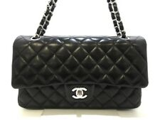 Auth CHANEL Matelasse A01112 Black Lambskin Shoulder Bag Double Flap