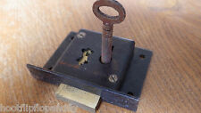 "2 1/2"" 63mm JAPANNED NOS TILL DRAWER LOCK NO. 253 4 LEVER W HENRY DEWEY LONDON"