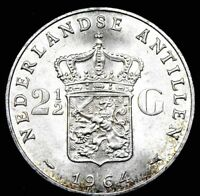 1964 NETHERLANDS 2 1/2 GULDEN SILVER CROWN UNCIRCULATED COIN !