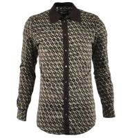 DOLCE & GABBANA GOLD Cotton Shirt with Knit Collar & Print Brown 03382