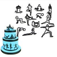 12Pcs / Set Cookie Cutter En Plastique Moule De Gâteau Biscuit Yoga Mo FE