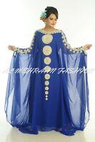 ROYAL BLUE MODERN ARABIC KAFTAN FARASHA MODERN GEORGETTE HAND ZARI WORK DRESS