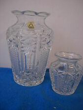 SET OF 2 OBERGLAS Austria Clear Pressed Glass Pattern  Vases