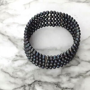 Tahitian Peacock Cultured Black Pearl Bracelet 4 Strand Cuff Spacers