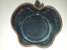 O'Quinn Pottery North Carolina NC Small Apple Crisp Bowl Blue Green Seagrove