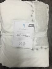 Pottery Barn Kids New Twin Size Metallic Star Border Duvet Cover
