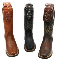 Men Genuine Cowhide Rodeo Leather Cowboy Boots With Free Belt -Floter