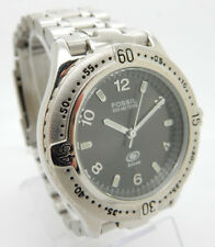 Mens FOSSIL Blue AM-3294 Stainless Steel Gray Dial 100m 38mm Wrist Watch w/Box