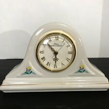 Parfums Laura Ashley Ceramic Mantel Desk Quartz Clock White Floral Design