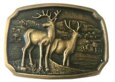 Vtg Deer Antler Belt Buckle Solid Brass Hunting Antlers For Him Buck Shooting