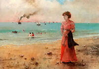 Oil Alfred Stevens jeune femme a lombrelle rouge au bord de la mer lady seaside