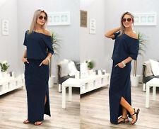 Women's BOHO Long Maxi Evening Cocktail Party Summer Beach Dress Sundress Pocket