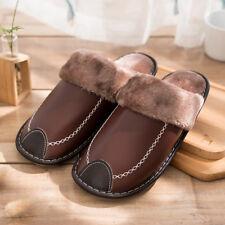 Winter men's leather warm cotton slippers plush shoes non-slip household slipper