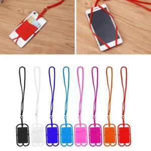 Detachable Silicone Lanyard Cell Phone Case Holder Neck Strap With ID Card Slot