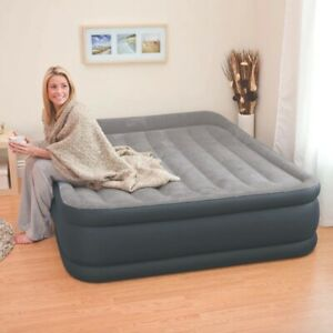 Inflatable Double High Raised Air Bed Mattress Airbed W Built-in Electric Pump