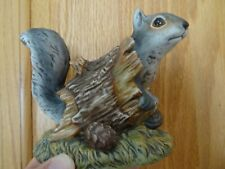 1986 Ceramic Squirrel In A Log By Homco -Excellent