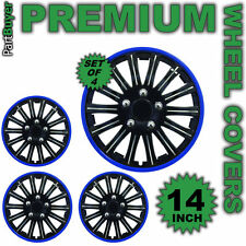 "14"" Inch Kappa Sports Wheel Cover Trim Set Black With Blue Ring Rims SET OF 4"