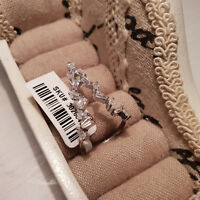 Lovely AAA Cr Diamond Ring set in Rhodium over Sterling Silver