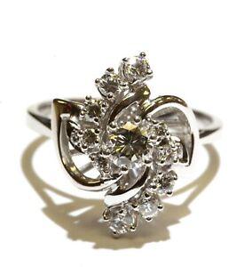 18k white gold .72ct diamond cluster womens ring 4.8g unique antique size 7.5