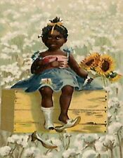 METAL MAGNET African American Black Girl Wood Box Cotton Field Children