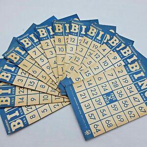 12 Vintage Bingo Cards Pressman Blue Off White Pressman USA Crafts Altered Art