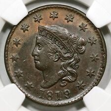 1819/8 N-1 NGC AU 55 Matron or Coronet Head Large Cent Coin 1c