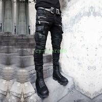 Mens Punk Zipper Slim Fit Pocket Cargo Pants Denim Jean Casual Rock Motorcycle