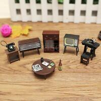 8Pcs Vintage Miniature Sewing Machine Telephone DollHouse Furniture Living Room