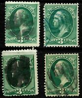 Fancy Cancels 3 Cent Green Banknotes 147 158 184 207 US Stamps 34C52