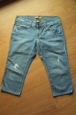 Womens Old Navy Ultra Low Waist Stretch Distressed Capri Cropped Jeans 6 Regular