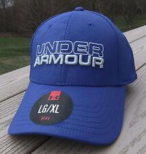 "NWT UNDER ARMOUR HeatGear ""Emboss"" Flex Fitted Mens Hat-L/XL Ret@28 BLUE"