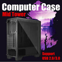 Gaming Tempered Computer Case PC ATX M-ATX ITX Mid Tower Desktop Chassis USB3.0