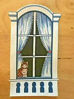 """Kitty/Cat in Victorian Window - 1 - Iron-On Fabric Appliques.. 7 1/4"""" X 4 1/8"""""""